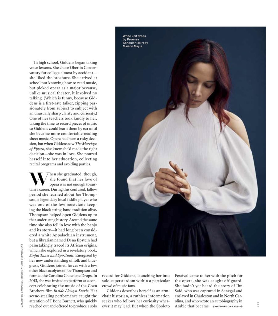 Rhiannan Giddens Garden & Gun Magazine.  Hair by Liam Carey